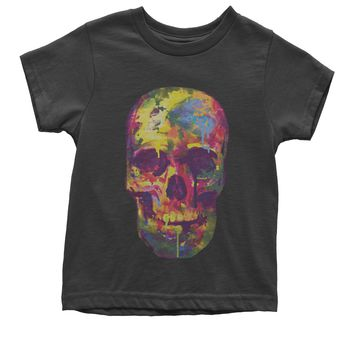 Painted Skull Neon Colors Youth T-shirt