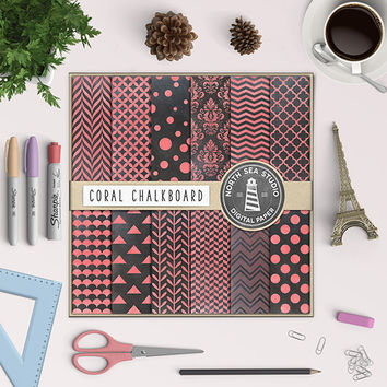 Coral Chalkboard Digital Paper Colored Chalk Patterns Chalkboard Background School Board Coral Chalk Damask Quaterfoil Polkadot Herringbone