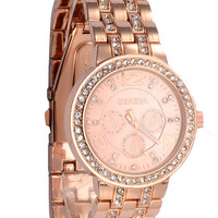 Geneva Full Steel Women Rhinestone Wristwatches - Gold Plated Classic Round CZ Ladies Boyfriend Watches