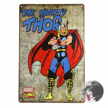 Mighty Thor Retro TIN SIGN poster metal wall decor marvel comic superheroes Retro Tin Sign ,Street Rod,for the Garage, Man Cave