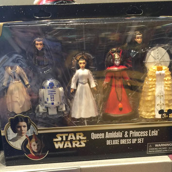Disney Parks Star Wars Queen Amidala & Princess Leia Deluxe Dress Up Set New Box