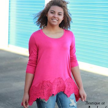 Jodifl Fuchsia Asymmetrical Tunic with Embroidered Hem on Front