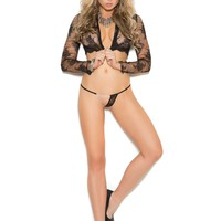 Lace g-string with chain detail  Black