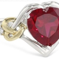 Sterling Silver and 14k Yellow Gold Diamond and Heart-Shaped Created Ruby Ring (0.03 cttw, I-J Color, I3 Clarity), Size 7