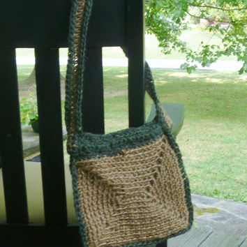 Jute Purse - Crochet Natural and Green