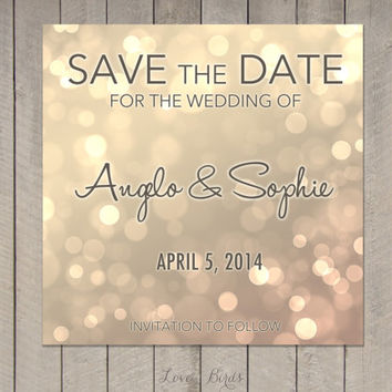 Wedding invitation Save the Date - Modern Calligraphy brown/gold bokeh - Digital file