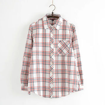 Winter Korean Plus Size Women's Fashion Cotton Linen Plaid Shirt [6332285700]