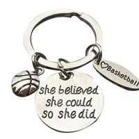 Basketball She Believed She Could So She Did Keychain
