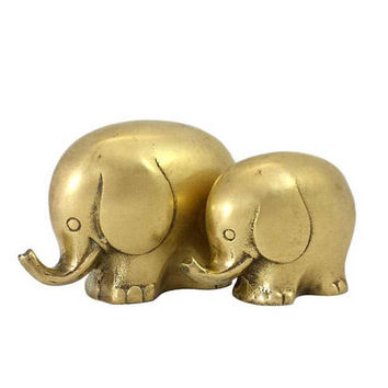 Brass Elephant Figurines Mother Baby Set Vintage MCM Animal Decor Gold Home Accents Statuettes Childs Nursery Room
