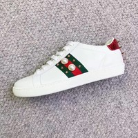 Gucci Ace embroidered low-top sneaker A variety of elemental styles Shoes Pearl B