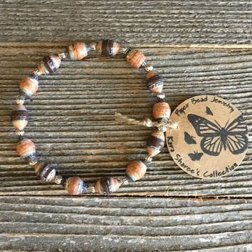Paper Bead Bracelet, Brown/Tan/Blue Bracelet, Paper Bead Jewelry, Stretchy Bracelet, Christmas Gift, Gift for Women, Wholesale - Item# 051