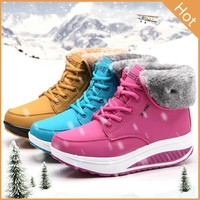 2017 Winter Fashion Women Ankle Boots Increase Fur Leather Shoes Casual Sport Outdoor Shoes