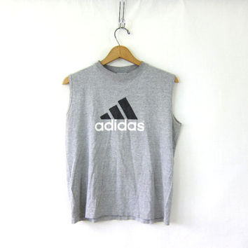 vintage Adidas tank top tshirt. light gray and black tee. basic sports tee shirt