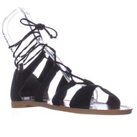 Steve Madden Sanndee Lace Up Gladiator Sandals - Black