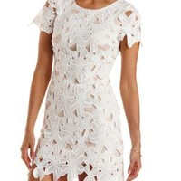 White Open Back Bodycon Lace Dress by Charlotte Russe