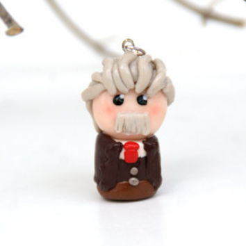 Albert Einstein Chibi Polymer Clay Geekery Necklace Handmade