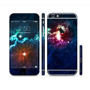 The Glowing Colorful Space Scene Sectioned Skin Series for the Apple iPhone 6