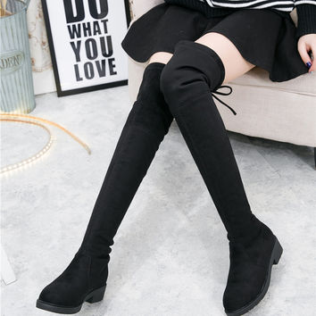 women boots Faux Suede Womens Thigh High Boots comfortable Flat Heel Comfort Fashion Slouchy Over the Knee Boots