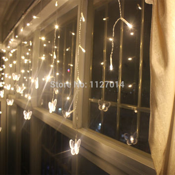 4m Fairy LED Butterfly Curtain lights Garland string lights christmas new year holiday wedding luminaria decoration lighting
