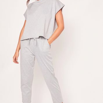 sara grey short sleeve boxy loungewear set