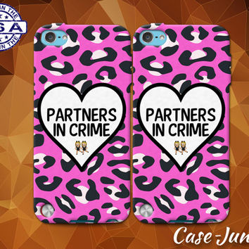 Partners In Crime Matching Pair Case Best Friends Cute Cheetah Case For iPhone 4 and 4s and iPhone 5 and 5s and 5c and iPhone 6 and 6 Plus +
