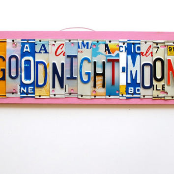 GOODNIGHT MOON license plate art OOAK children's by UniquePl8z