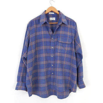 Vintage 80s Men's Oversized Flannel Plaid Shirt - Subdued Blue Button Up Long Sleeve Lumberjack Shirt - Size Large
