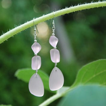 Sterling Silver and Pink Recycled Glass Manufactured Sea Glass Silver fluted bead pierced earrings