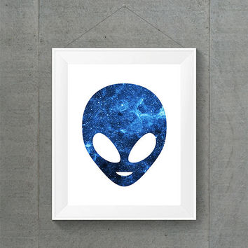 Blue Galaxy Alien Head, Alien Home Decor, Galaxy Dorm Decor, Alien Nursery Decor, Space Home Decor, Space Nursery Decor, 8X10 Print