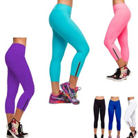 Women's Candy Color Ninth-Pointed SportsWear Zip Tights Leggings New Sale Pants = 1958521028