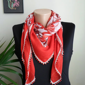 Turkish Yemeni Square Scarf. Red. Floral. Oya. Unique.