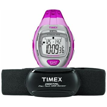 Timex T5K734 Women's Zone Trainer Heart Rate Monitor Grey Dial Pink Rubber Strap Alarm Chronograph Digital Watch