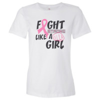 Fight Strong Like a Girl Breast Cancer Women's Jersey T-Shirt - White | Breast Cancer Apparel