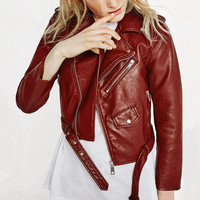 Wine Red Faux Leather Jacket