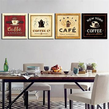 Unframed Cup of Coffee Tea Poster Modern Canvas Print Oil Painting Wall Art Picture for Kitchen Room Decoration Artwork 4 Panel