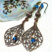 Antique Copper Long Dangle BOHO Laurel Leaf and Blue Crystal Earrings