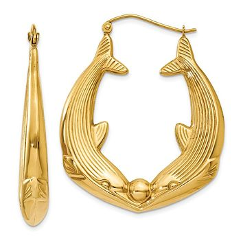 Large Kissing Dolphin Hoop Earrings in 14k Yellow Gold