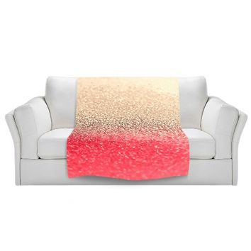 Blankets Ultra Soft Fuzzy Fleece 4 SIZES! from DiaNoche Designs Home Decor Unique Designer Artistic Stylish Bedroom and Bathroom Ideas Couch or Throw Blankets by Monika Strigel - Gatsby Coral Gold