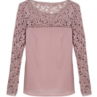 Rosey Brown Crochet Lace Panel Long Sleeve Blouse