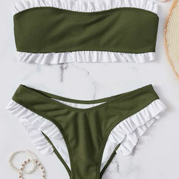 Frill Trim Ribbed Bandeau With High Leg Bikini