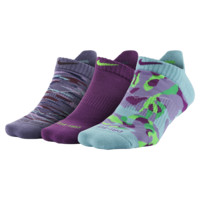 Nike Graphic Tab No-Show Socks (3 Pair) Size Medium (Purple)
