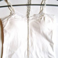 Silver and Rhinestone Body Chain Belly Chain with Attached Necklace