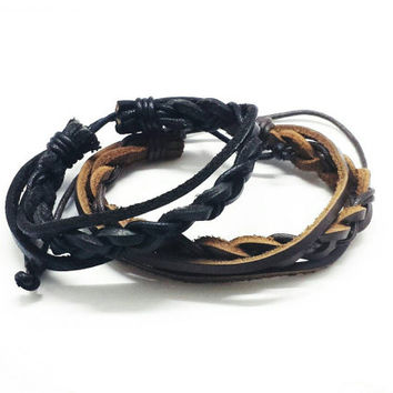 Leather Bracelets with Double Strings (BLACK OR BROWN)