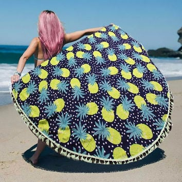Green Pineapple Print Wrap Poncho with Tassel Trim multi-way Round Beach Towel Throw