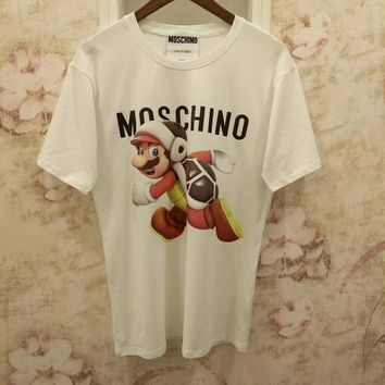 Moschino White Super Mario Fashion Women T Shirt