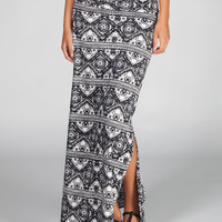 Full Tilt Ethic Print Double Slit Maxi Skirt Black/White  In Sizes