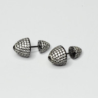 Illusion Spike Plugs / Stud / Ear Pins /  Punk Style Double Earrings, 925 Sterling Silver,  Black Rhodium Plated Sterling Silver / Pair
