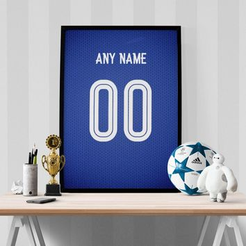 Chelsea Football Soccer Jersey Poster - Print Personalized Select ANY Name & ANY Numbe