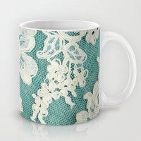 white lace - photo of vintage white lace Mug by Sylvia Cook Photography