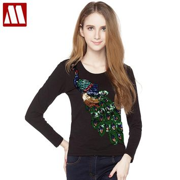 2018 Lady Cotton T Shirts Long Sleeve Peacock Sequins Embroidery Tops For Women Peafowl T Shirts Black White Women Undershirt